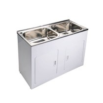Dbl Bowl Laundry Trough & Cab
